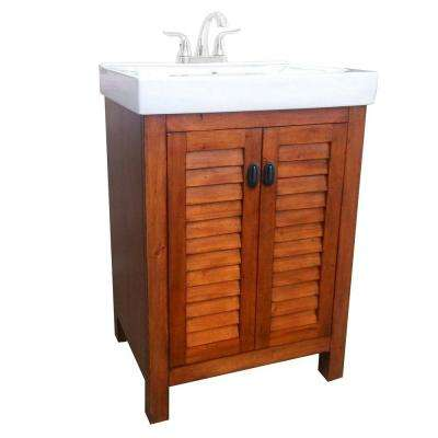 Camden 24 in. Vanity in Pine with Vitreous China Vanity Top in White