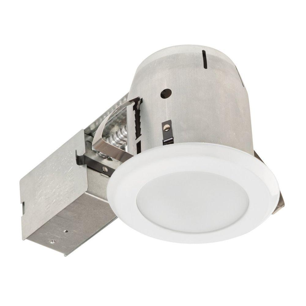 Globe electric 4 in glossy white with frosted lens led ic rated glossy white with frosted lens led ic rated shower recessed lighting aloadofball Gallery