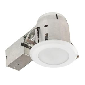 Glossy White With Frosted Lens Led Ic Rated Shower Recessed Lighting Kit Bathroom