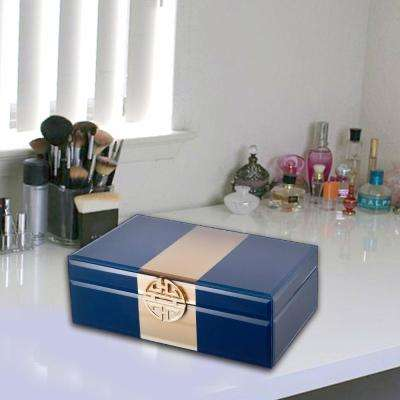 Dapper Opulent Blue Glass Jewellery Box