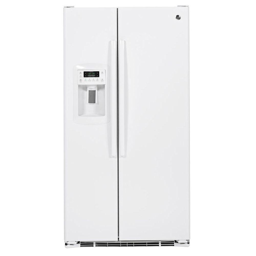 GE 22.66 cu. ft. Side by Side Refrigerator in White, Counter Depth