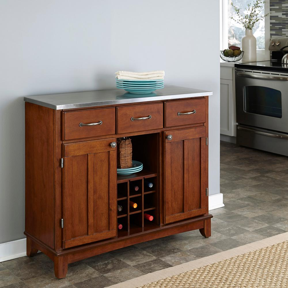 Cherry And Stainless Steel Buffet With Wine Storage