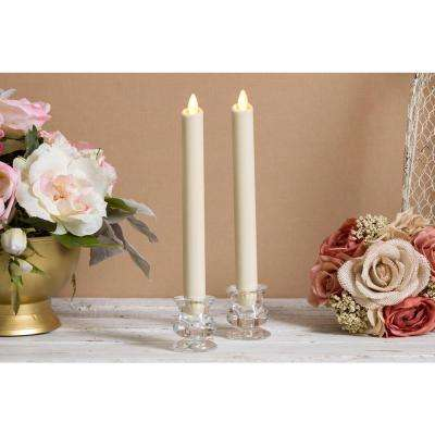 Flameless Candles Unscented Wax Dipped Taper Ivory 2 pc.