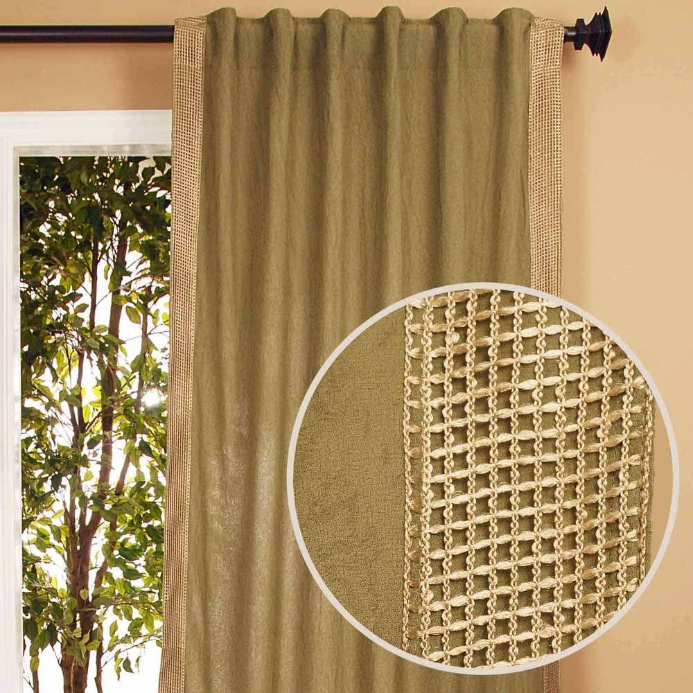 Home Decorators Collection Semi-Opaque Crinckle Sage Back Tab Curtain