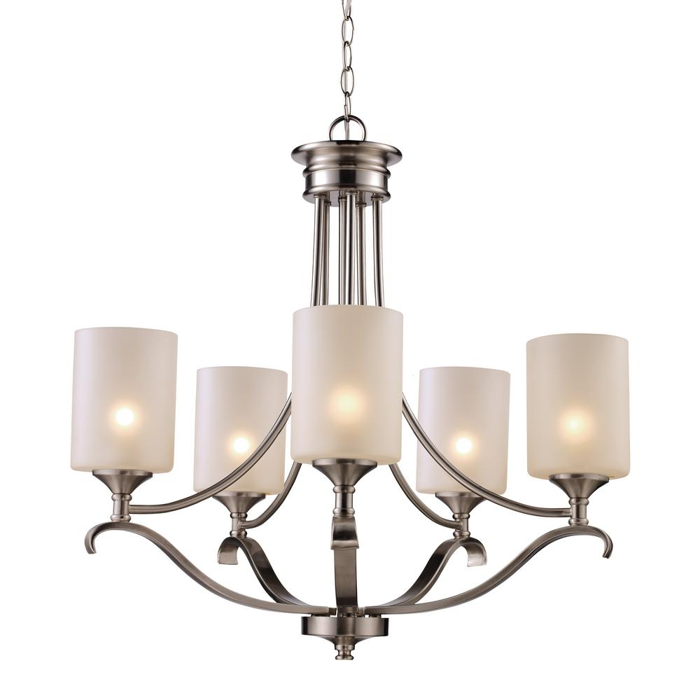 Ballards Lighting: Ballard 5-Light Brushed Nickel Chandelier With Frosted