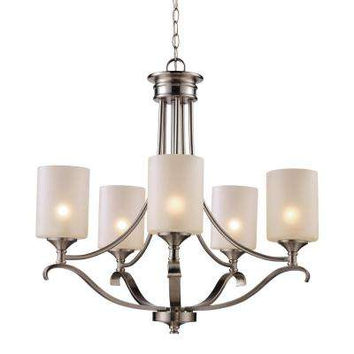 Ballard 5-Light Brushed Nickel Chandelier with Frosted Glass Shades