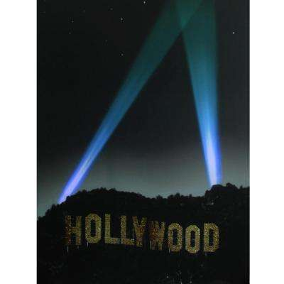 19.5 in. x 27.5 in. LED Lighted Hollywood Sign Canvas Wall Art