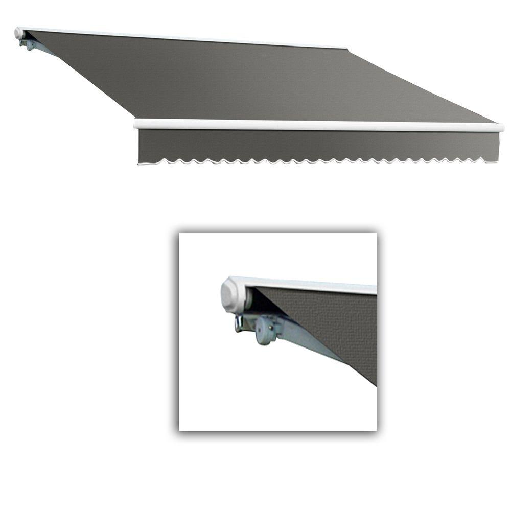 AWNTECH 14 ft. Galveston Semi-Cassette Right Motor with Remote Retractable Awning (120 in. Projection) in Gray