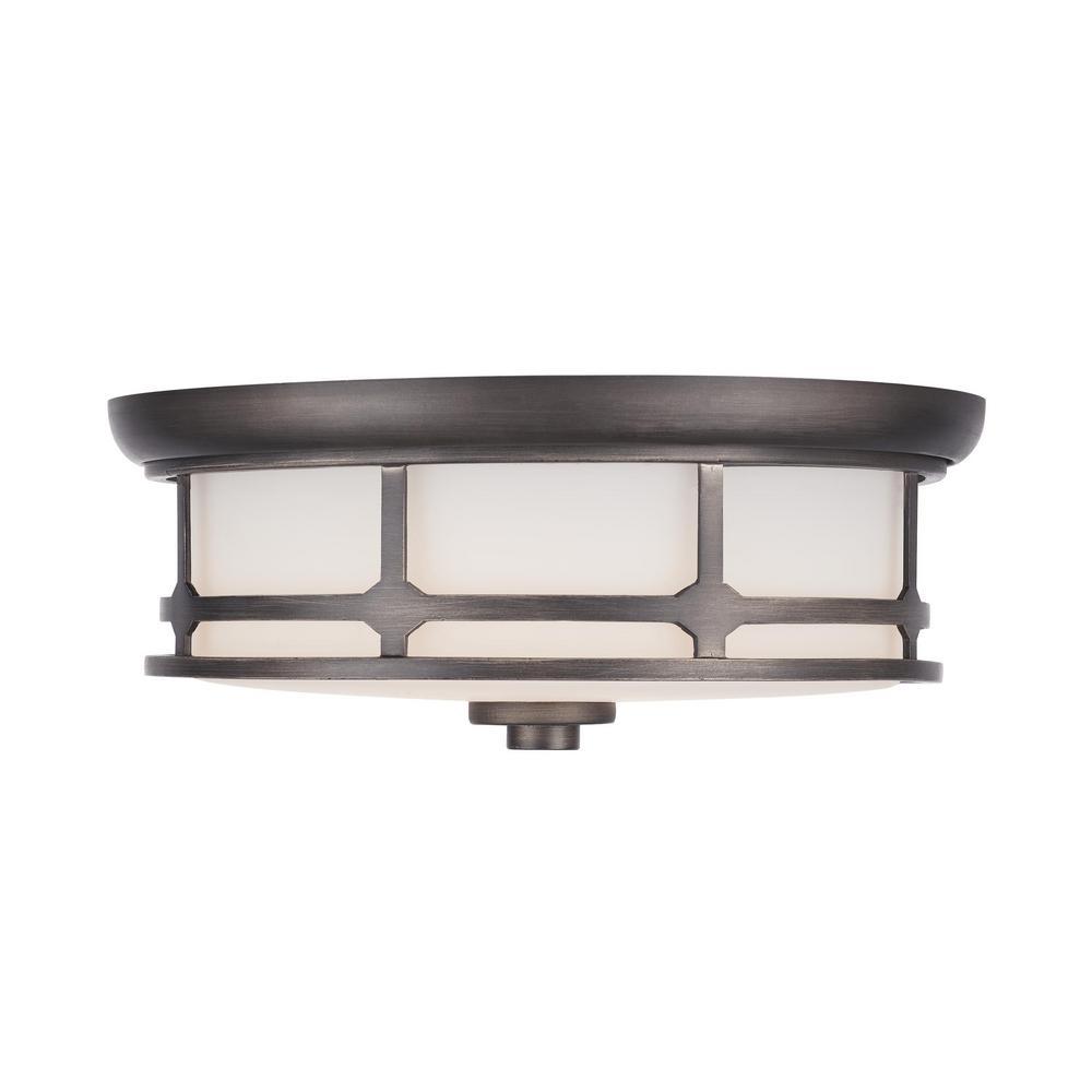 Home Decorators Collection 75-Watt Equivalence Satin Silver Integrated LED Flush Mount