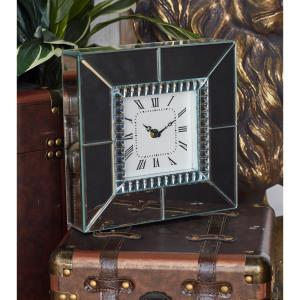 Clear Reflective Square Table Clock
