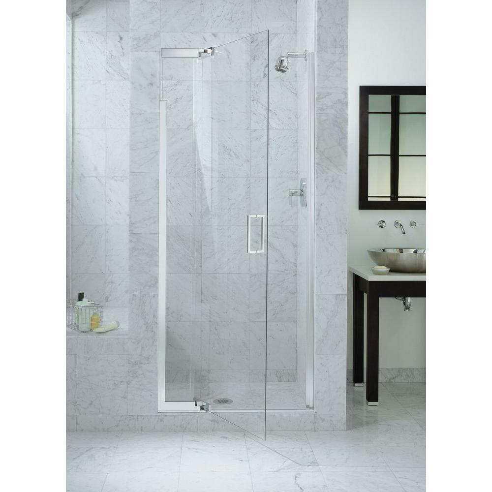 Heavy Semi Frameless Pivot Shower Door In Bright Silver With  Handle K 702011 L SH   The Home Depot