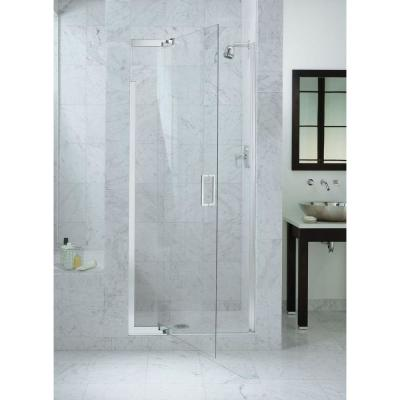 Purist 36 in. x 72 in. Heavy Semi-Frameless Pivot Shower Door in Bright Silver with Handle