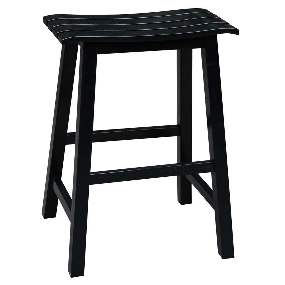 International Concepts Saddle 24 In Black Bar Stool