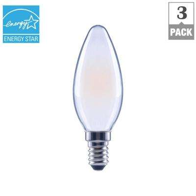 40-Watt Equivalent B11 E12 Base Dimmable Frosted Filament LED Light Bulb, Daylight (3-Pack)