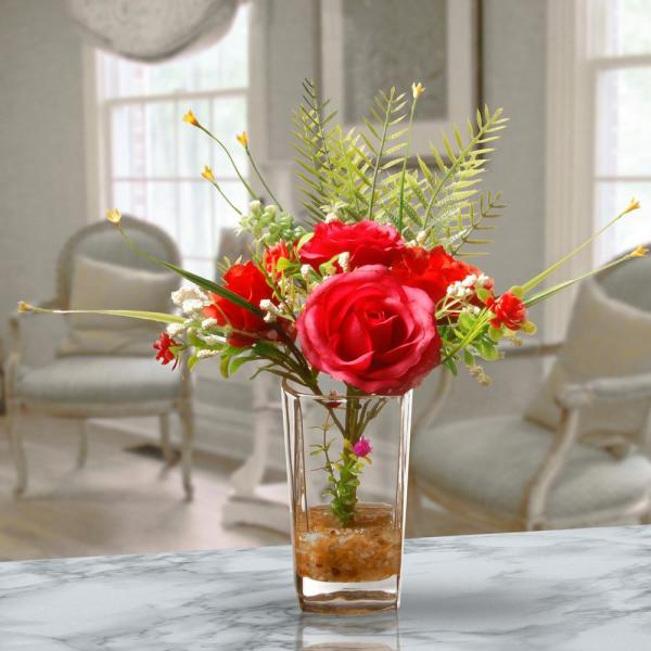National Tree Company Red Rose Arrangement in Glass Vase NF36-1291-1