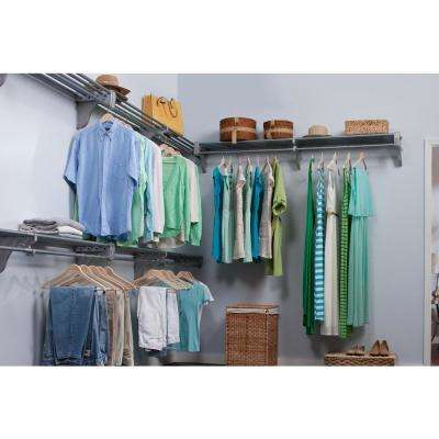 30 ft. Steel Closet Organizer Kit with 5-Expandable Shelf and Rod Units in Silver with 4 End Brackets