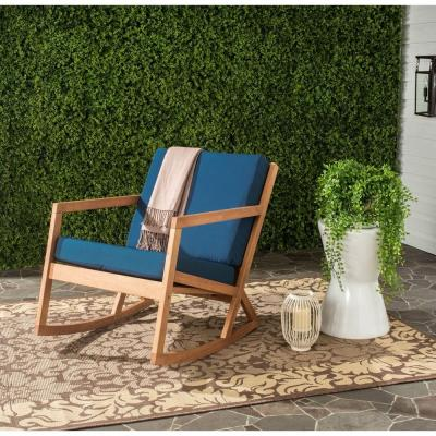 Vernon Teak Brown Wood Outdoor Rocking Chair with Navy Cushions