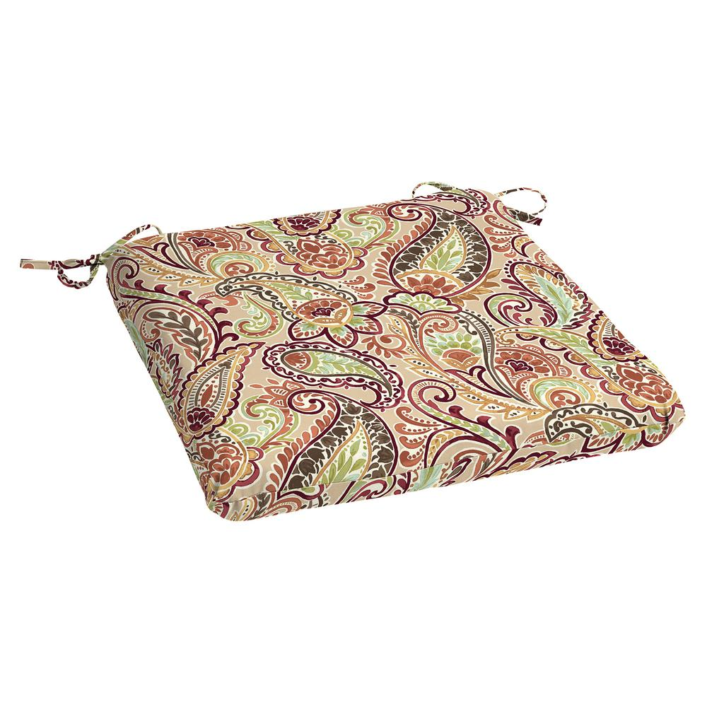 Hampton Bay 20 X 19 Outdoor Chair Cushion In Olefin Chili Paisley