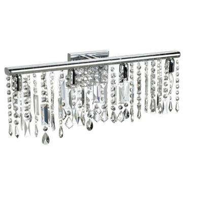 Bohemian 4-Light Polished Chrome Vanity Light with Crystals