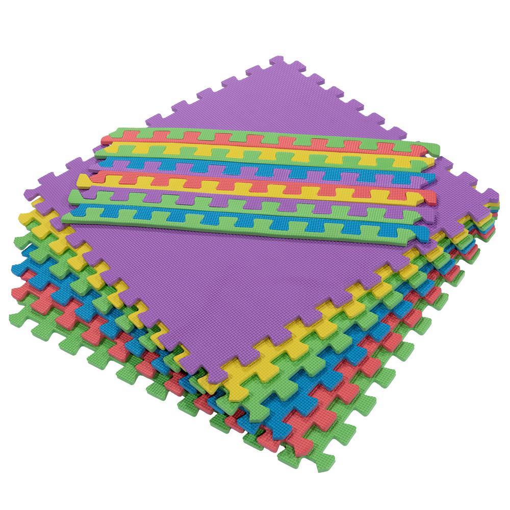 Ottomanson Multi-Purpose Multi-Color 24 in. x 24 in. EVA Foam Interlocking Anti-Fatigue Exercise Tile Mat (6-Pack)