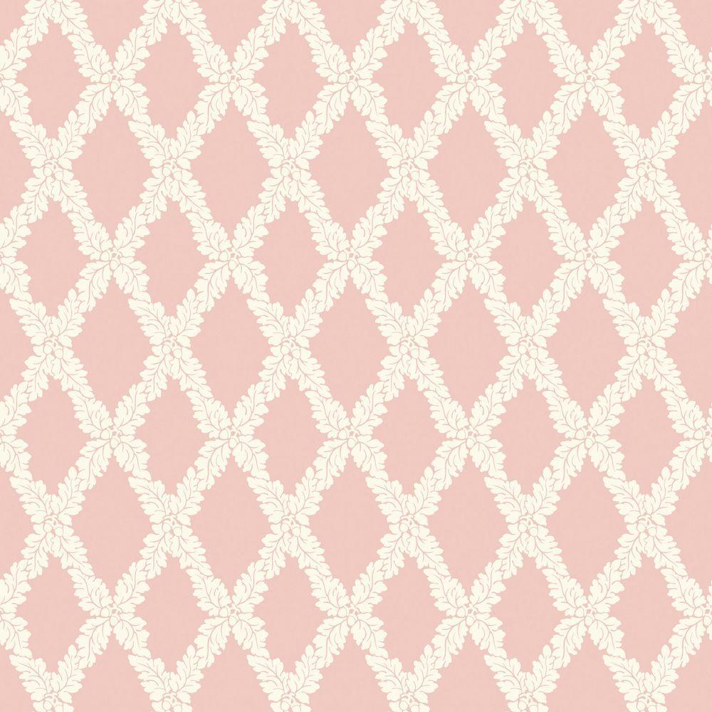 The Wallpaper Company 56 sq. ft. Pink Pastel Acorn Trellis Wallpaper