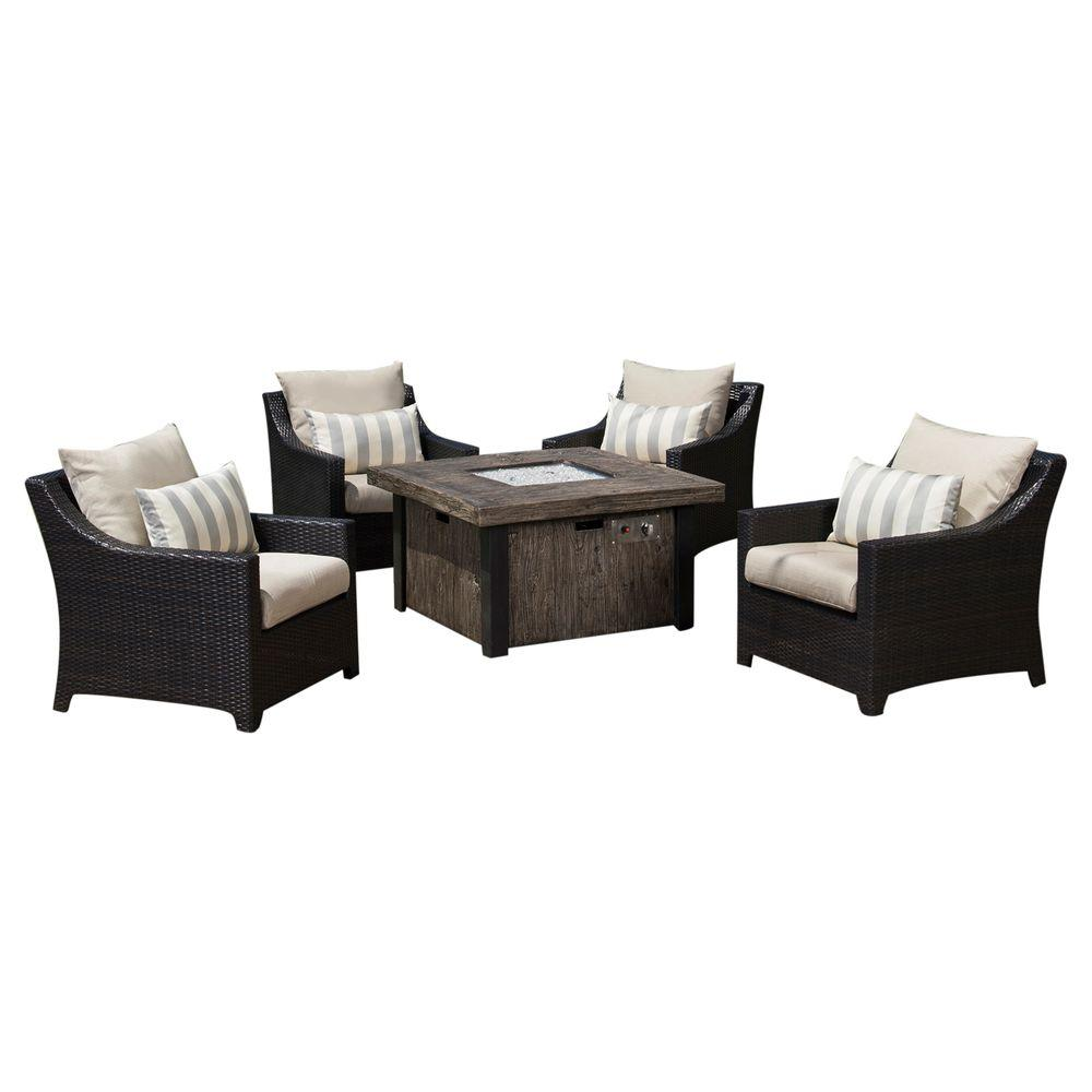 Deco 5-Piece Patio Fire Pit Seating Set with Slate Grey Cushions