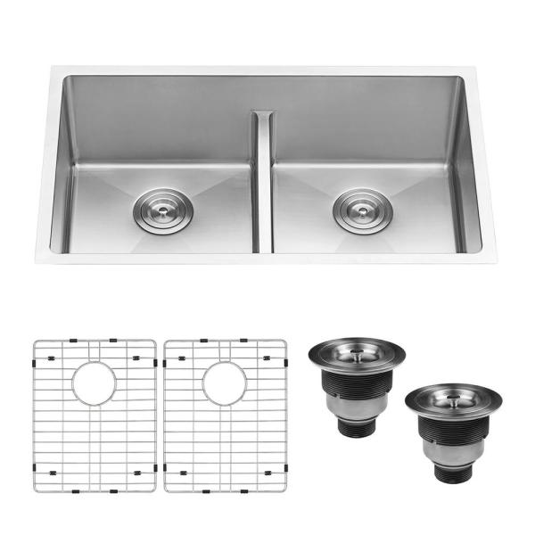 Ruvati Undermount Stainless Steel 30 In 50 50 Low Divide Double Bowl 16 Gauge Kitchen Sink Rvh7355 The Home Depot