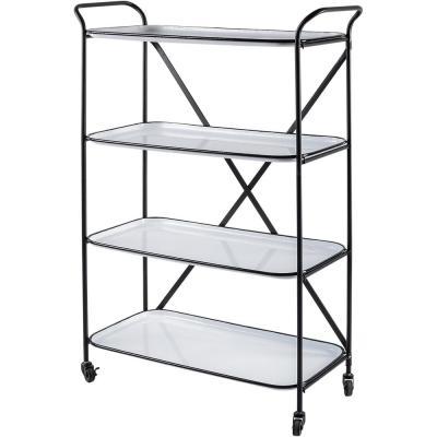 Belvedere Black Metal Frame with 4-Removable White Trays Bar Cart