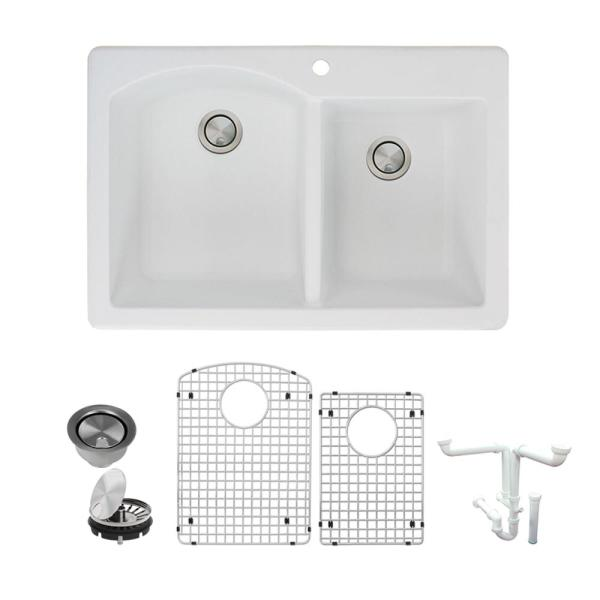 Transolid Aversa All In One Drop In Granite 33 In 1 Hole 1 3 4 In D Shape Double Bowl Kitchen Sink In White K Atdd3322 01 The Home Depot
