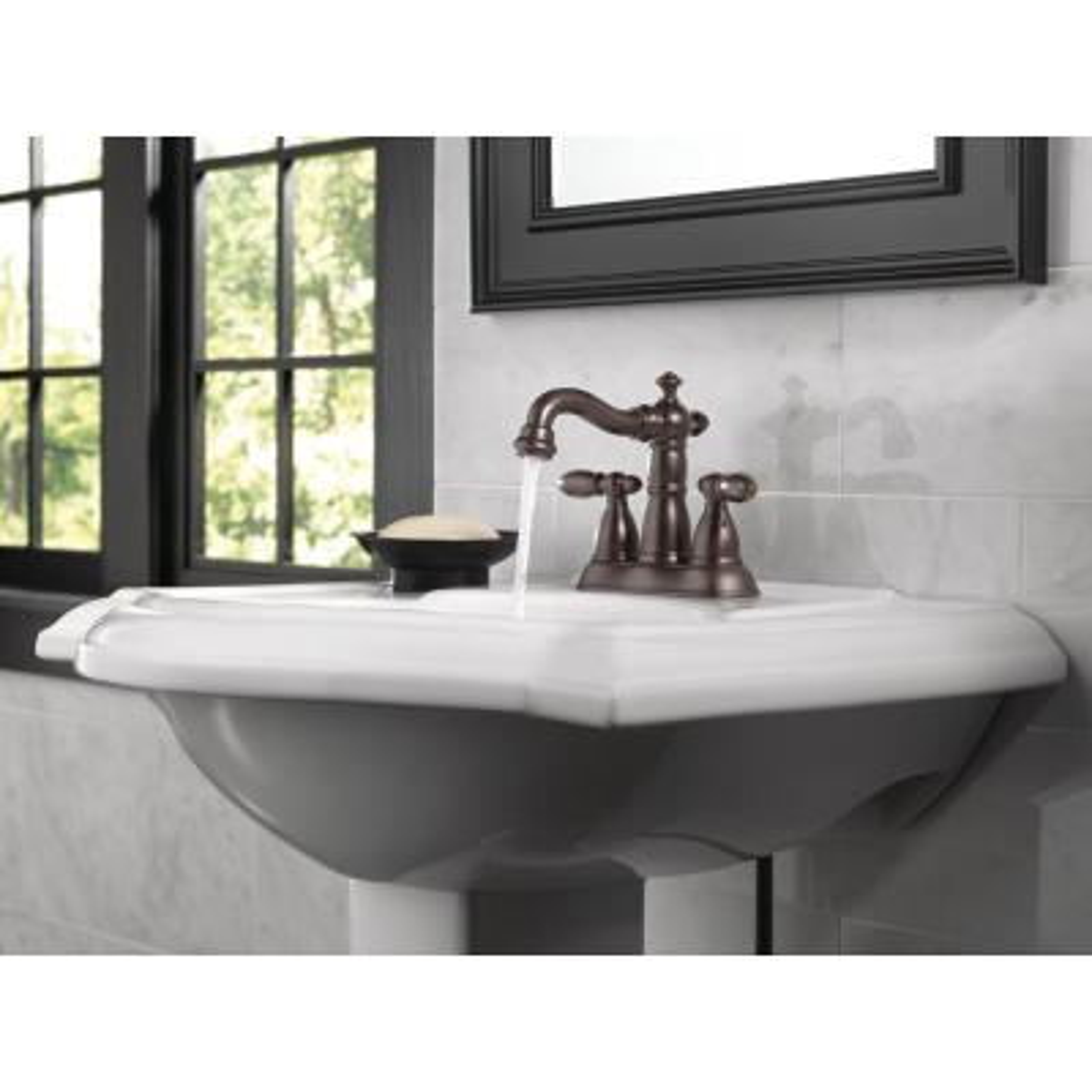 Victorian 4 in. Centerset 2-Handle Bathroom Faucet with Metal Drain Assembly in Venetian Bronze