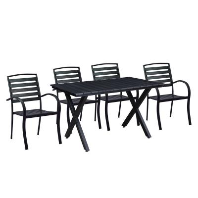 Modern Contemporary 5-Piece Black Metal Rectangular Outdoor Dining Set with Slatted Faux Wood and Stackable Chairs