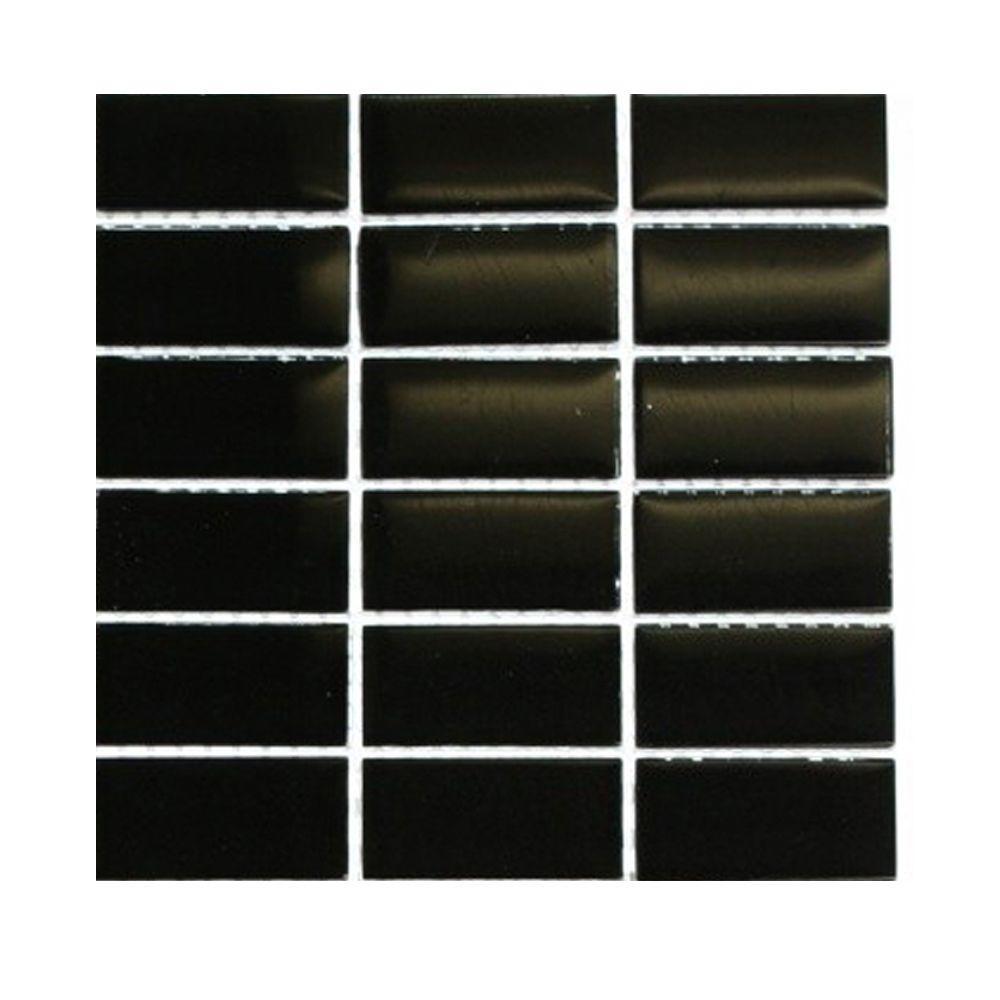Splashback Tile Black Swan Stacked 1 in. x 2 in. Glass Tile - 6 in. x 6 in. Tile Sample-DISCONTINUED