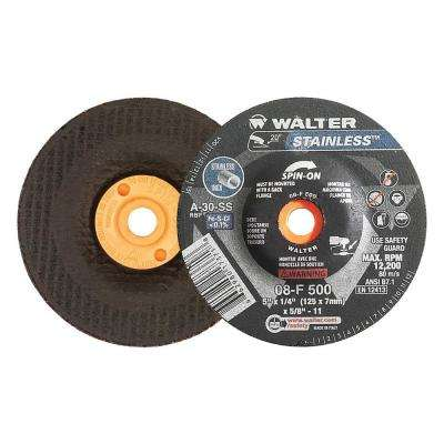 Stainless 5 in. x 5/8-11 in. Arbor x 1/4 in. T27S A-30-SS Grinding Wheel for Stainless (20-Pack)