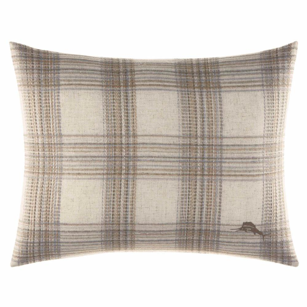 Raffia Palms Plaid Woven 16 in. x 20 in. Throw Pillows, Beige Create an elegant island oasis at home with the Raffia Palms Plaid Woven Lumbar Pillow by Tommy Bahama Bedding. The all-cotton pillow features embroidered plaid on the face and the signature Tommy Bahama marlin. Pair this pillow with the rest of the Raffia Palms collection for a coastal look. Pillow is machine washable and features an envelope closure. Pillow (16 in. x 20 in.). Color: Beige.