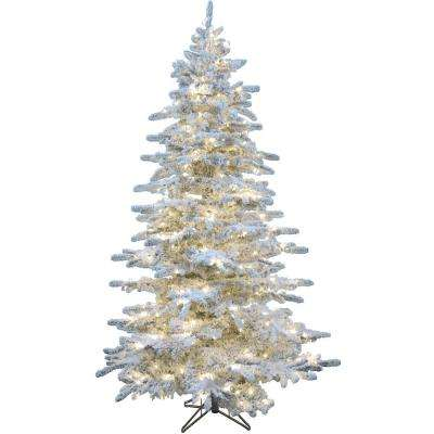 6.5 ft. LED Silverado Pine White Flocked Slim Christmas Tree with Multi-Color Lights