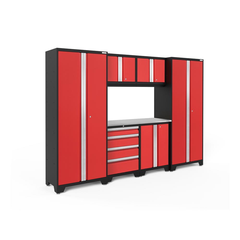 Bold 3.0 77.25 in. H x 108 in. W x 18 in. D 24-Gauge Welded Steel Garage Cabinet Set in Red (7-Piece)