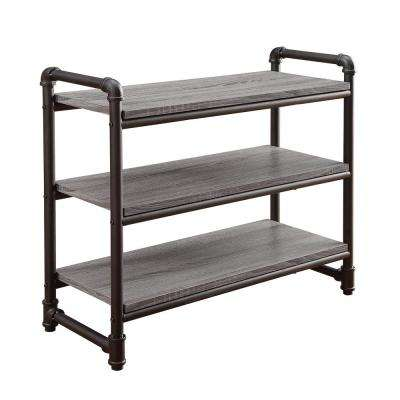 Manchester Industrial 26.37 in W x 11.75 in. D Gray and Black 3 Tier Decorative Shelf