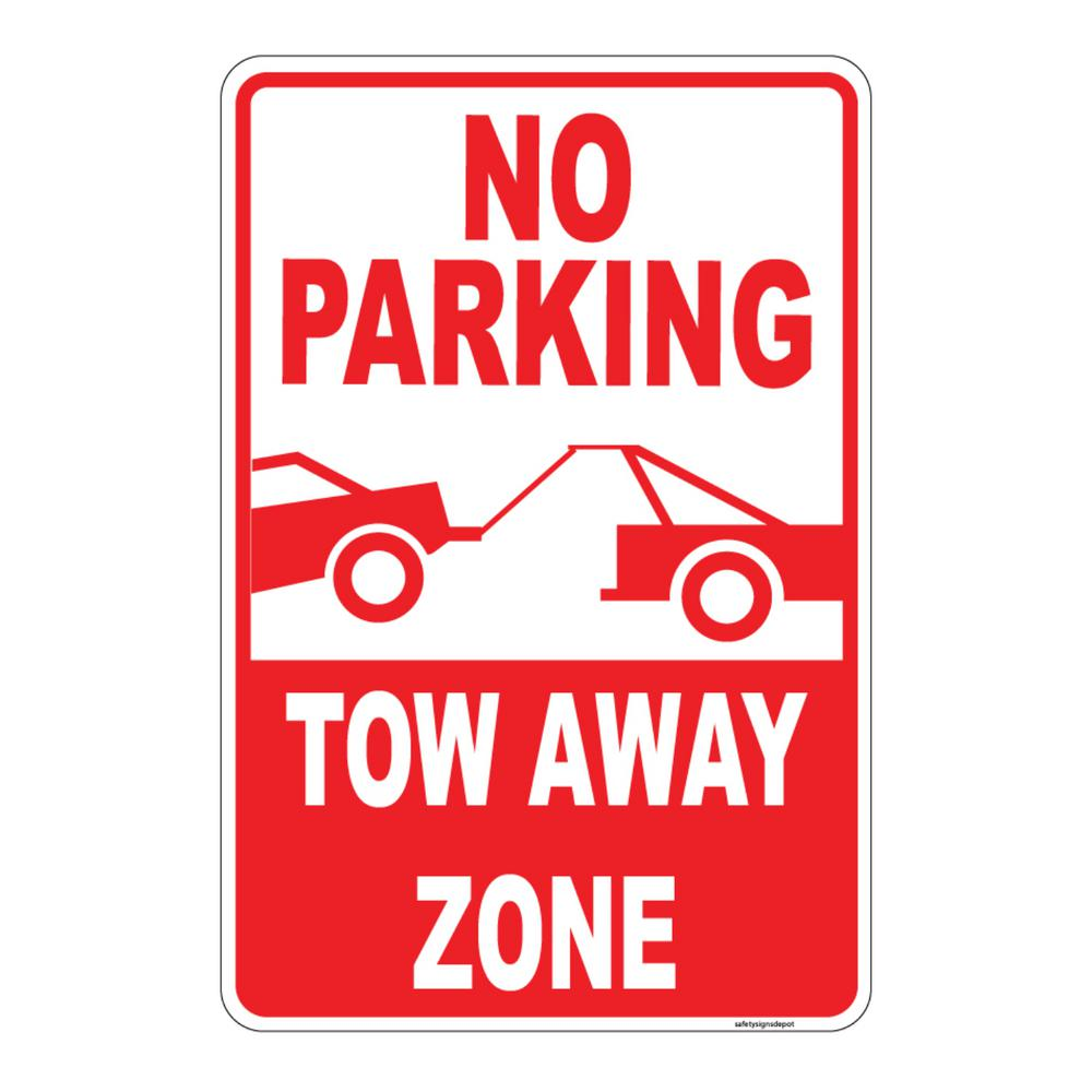 8 in. x 12 in. Plastic No Parking Tow Away Zone