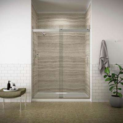 Levity 59 in. x 74 in. Frameless Sliding Shower Door in Silver with Handle