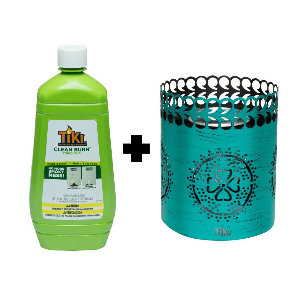 Tiki 6 In Clean Burn Flameshield Tabletop Torch Lantern Teal Plus 32 Oz