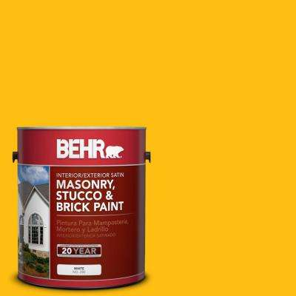1 gal. #P290-7 Laser Lemon Satin Interior/Exterior Masonry, Stucco and Brick Paint