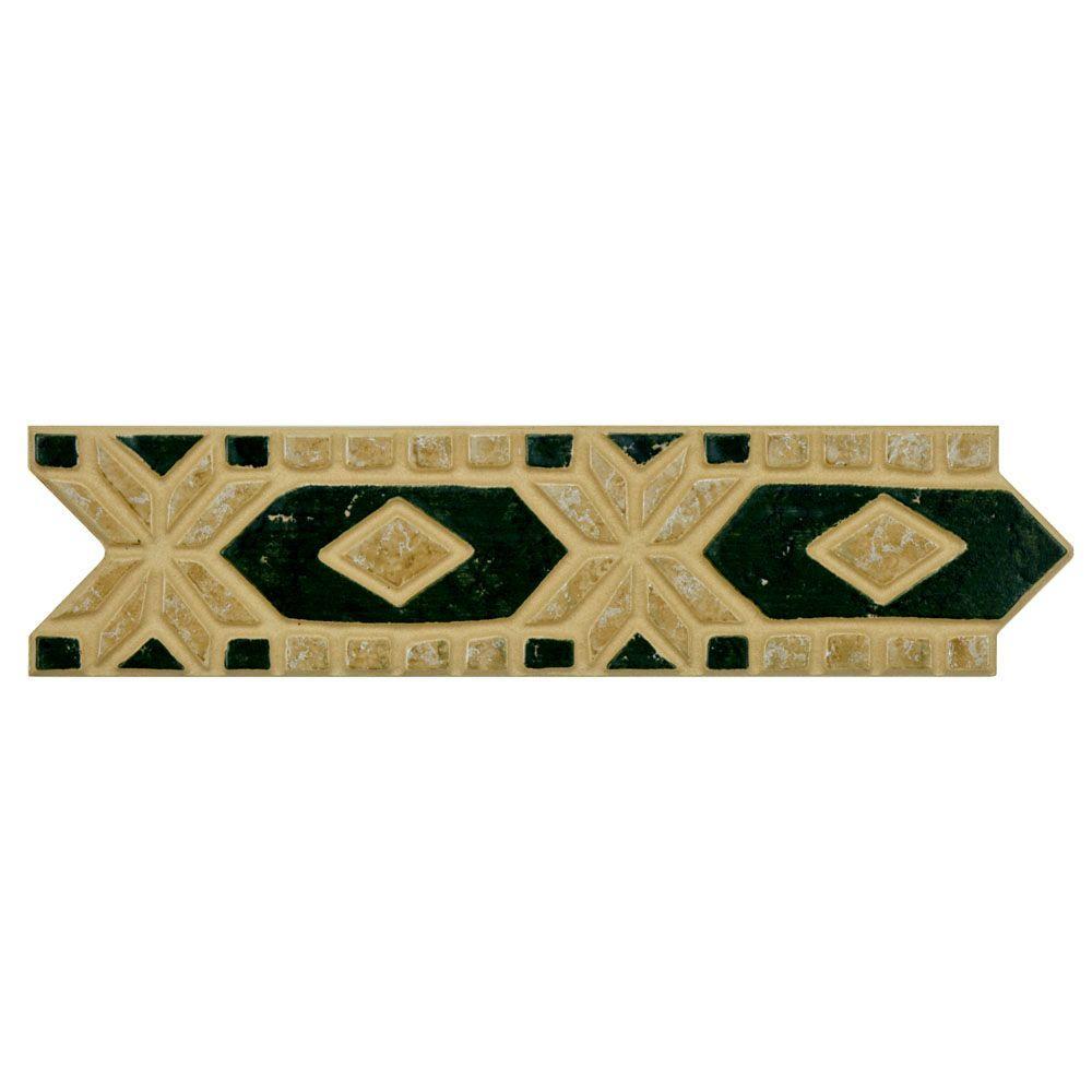 Merola Tile Diamante Beige Verde 2-1/2 in. x 10-3/16 in. Porcelain Listello Wall and Floor Trim Tile