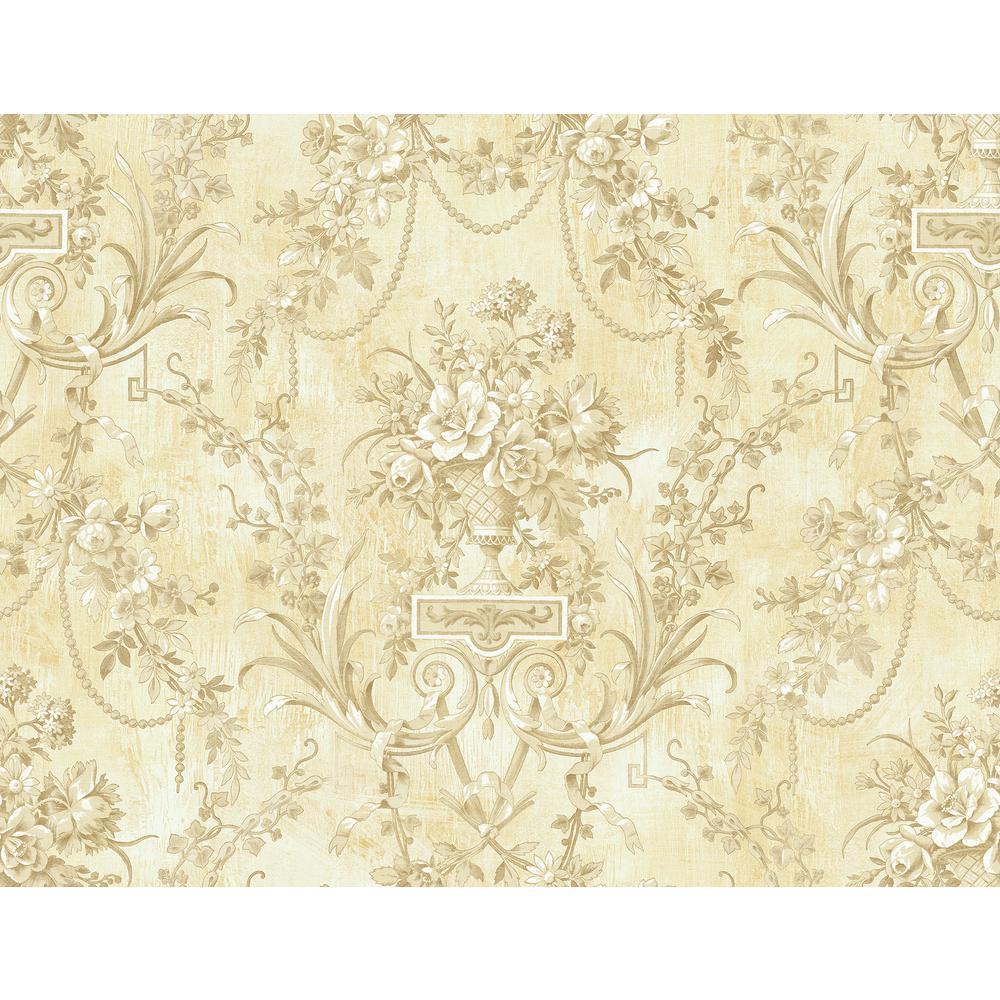 Seabrook Designs Charleston Linen Damask Wallpaper CT40301