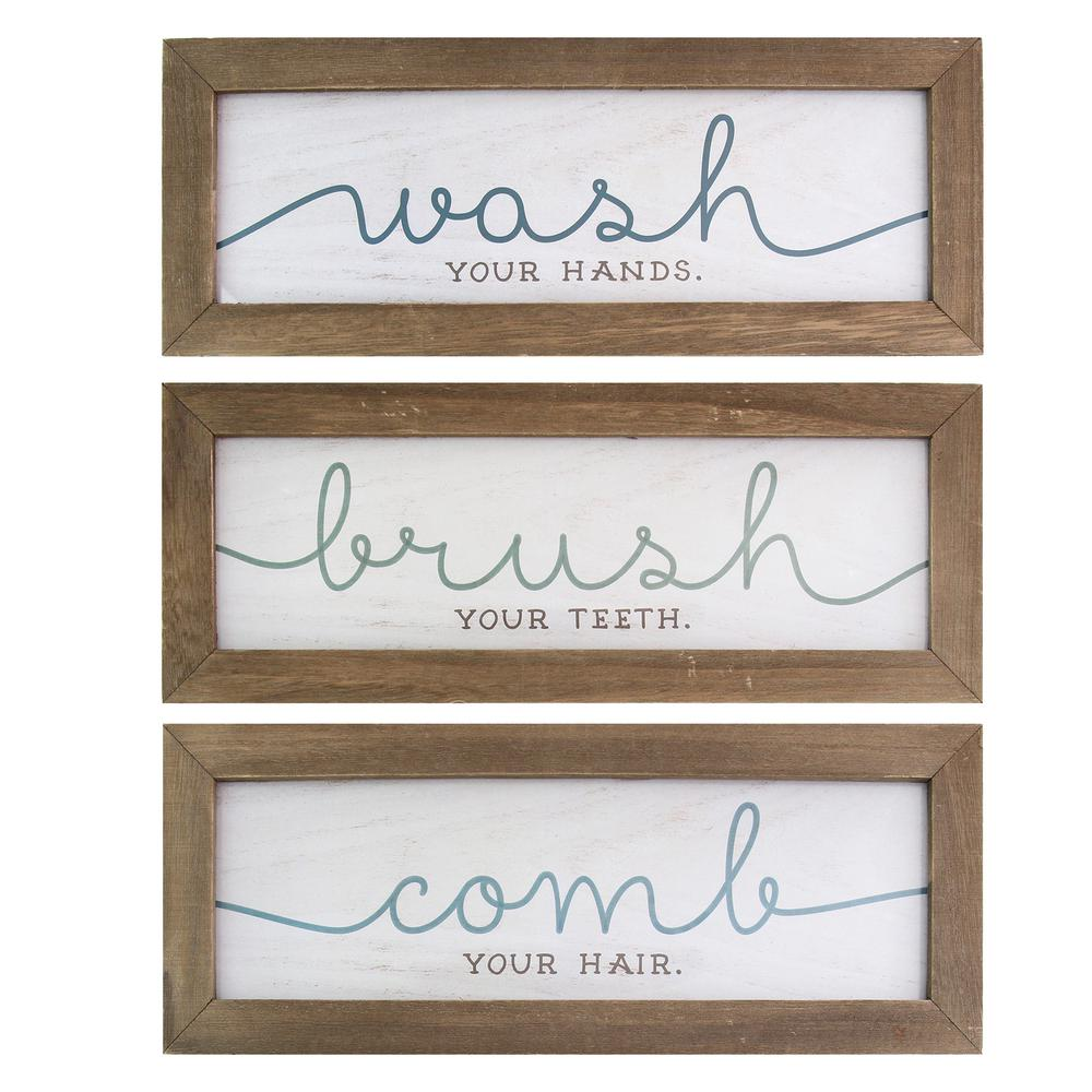 Stratton Home Decor Wash, Brush, Comb Bath Art (Set of 3