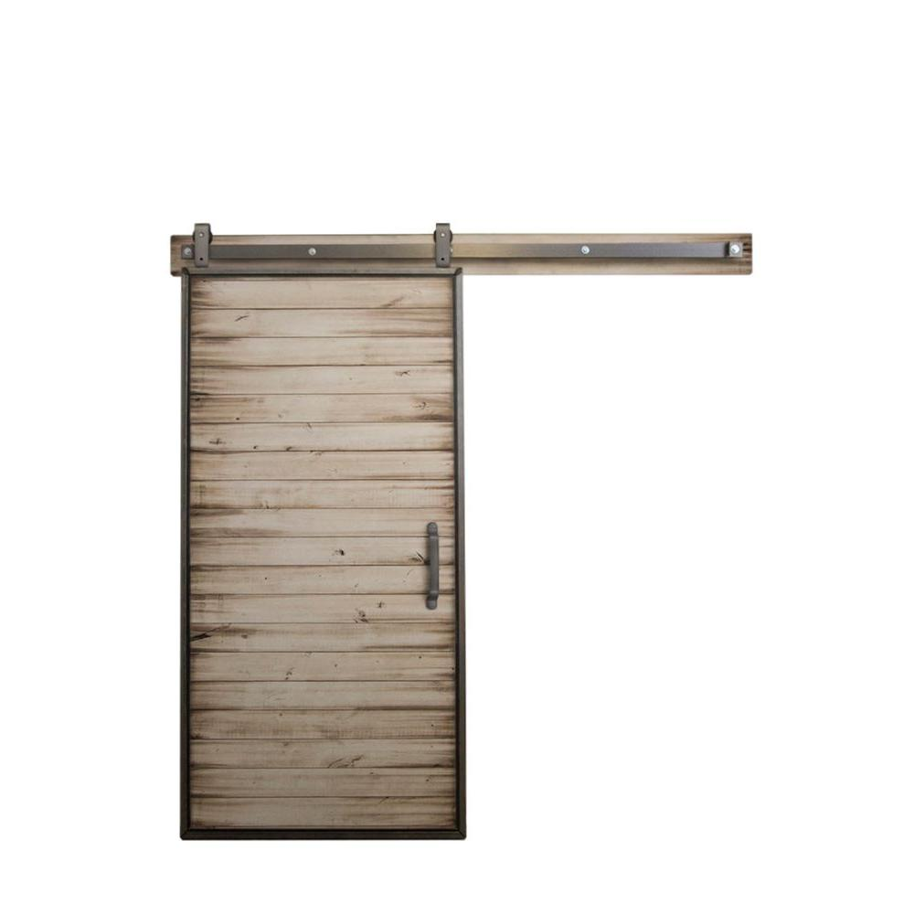 36 in. x 84 in. Mountain Modern White Wash Wood Barn
