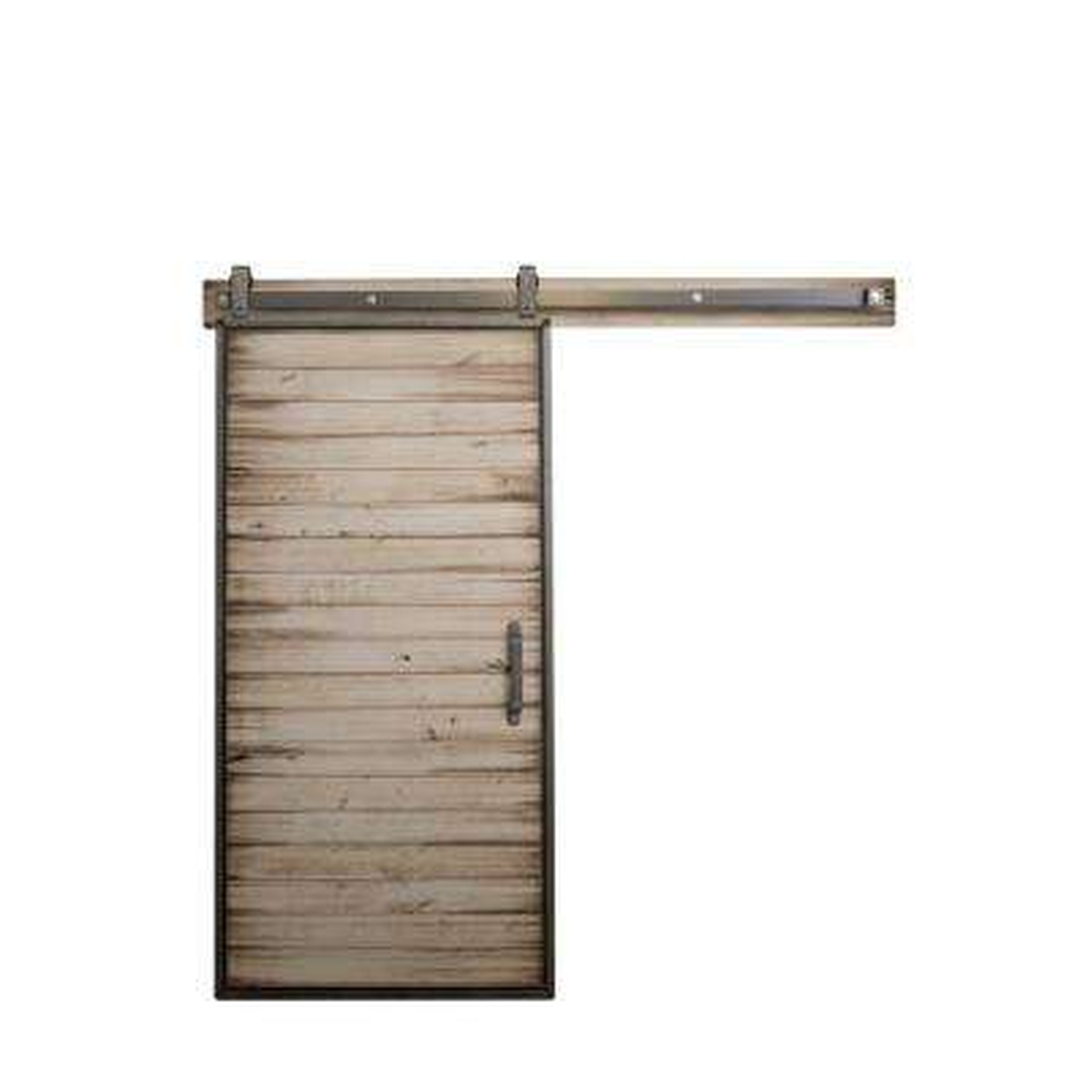 36 in. x 84 in. Mountain Modern White Wash Wood Barn Door with Mountain Modern Sliding Door Hardware Kit