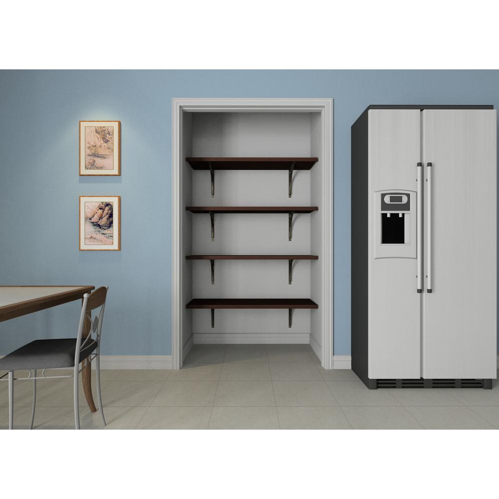 ClosetMaid 16 in. D x 48 in. x W 84 in. H Espresso Solid Wood Wall Mount Pantry Closet Kit