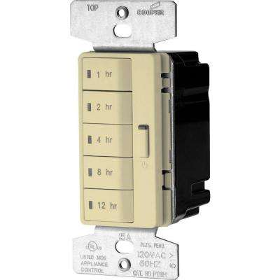 Accell 15 Amp 5-Button Single-Pole Hour Timer Lighting Control with Automatic Off, Ivory