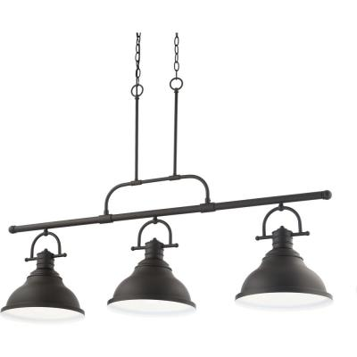 3-Light Indoor Foundry Bronze Linear Kitchen Island Hanging Pendant with Bell-Shaped Bowls