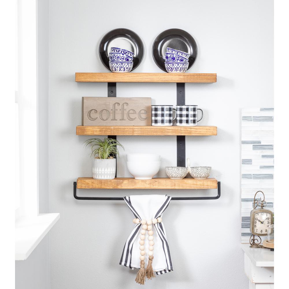 5.5 in. x 24 in. x 20 in. Walnut Pine Wood Three-Tier with Towel Bar Decorative Wall Shelf with Brackets